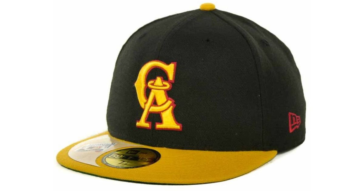 bb1dbb8a583 ... new era mlb white on metallic 59fifty cap 2dd6d debc2  sale lyst ktz los  angeles angels of anaheim cooperstown patch 59fifty cap in yellow for men