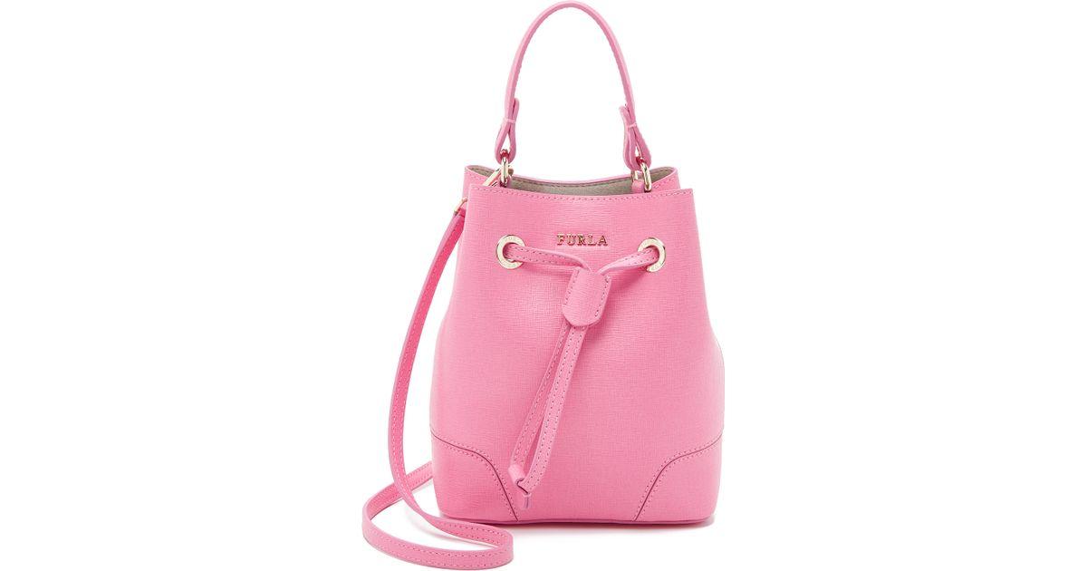 Lyst - Furla Stacy Mini Drawstring Bucket Bag in Pink 837106db7c910
