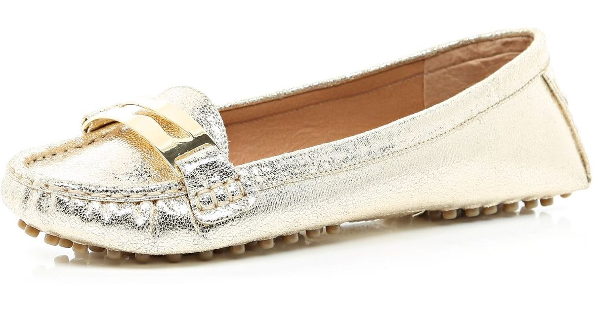 f8e4b3dbfd2 River Island Gold Metallic Moccasin Driving Shoes in Metallic - Lyst