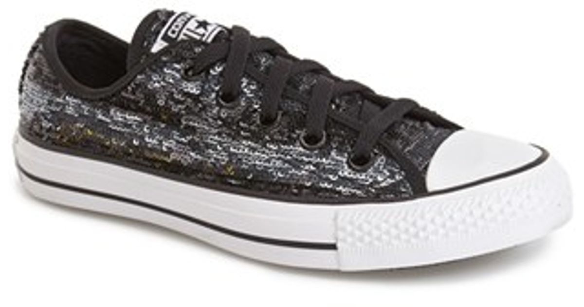 ce1a9f23e586 Lyst - Converse Chuck Taylor All Star  Sequin Flag  Low Top Sneaker in Black