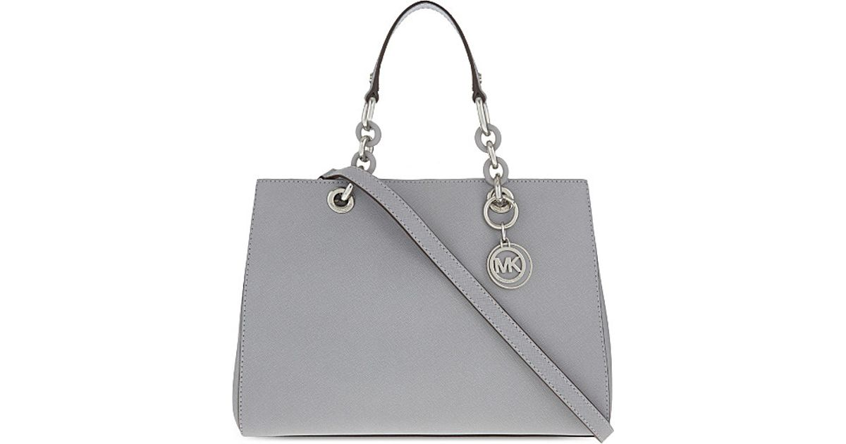 bd1884236be2 Lyst - MICHAEL Michael Kors Cynthia Medium Saffiano Leather Satchel in Gray