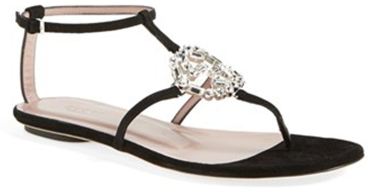 Lyst - Gucci  gg  Crystal Thong Sandal in Black
