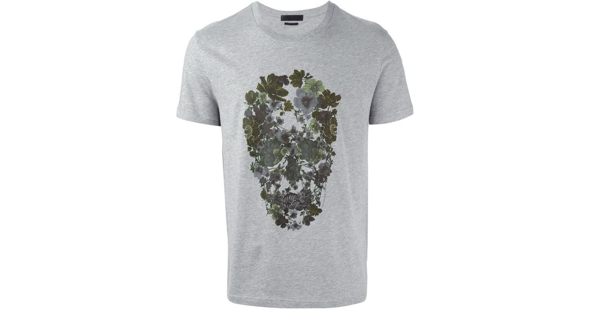 c6ef1834 Alexander McQueen Floral Skull-Print Cotton T-Shirt in Gray for Men - Lyst