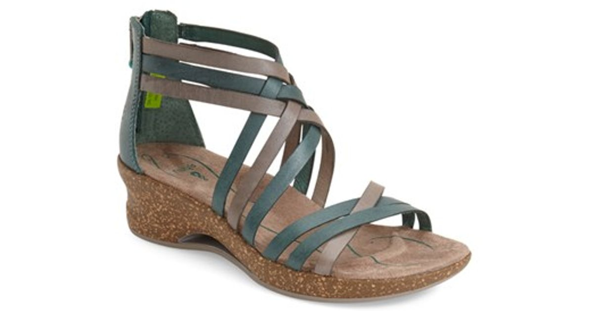 Ahnu Trolley Leather Wedge Sandal In Natural Lyst