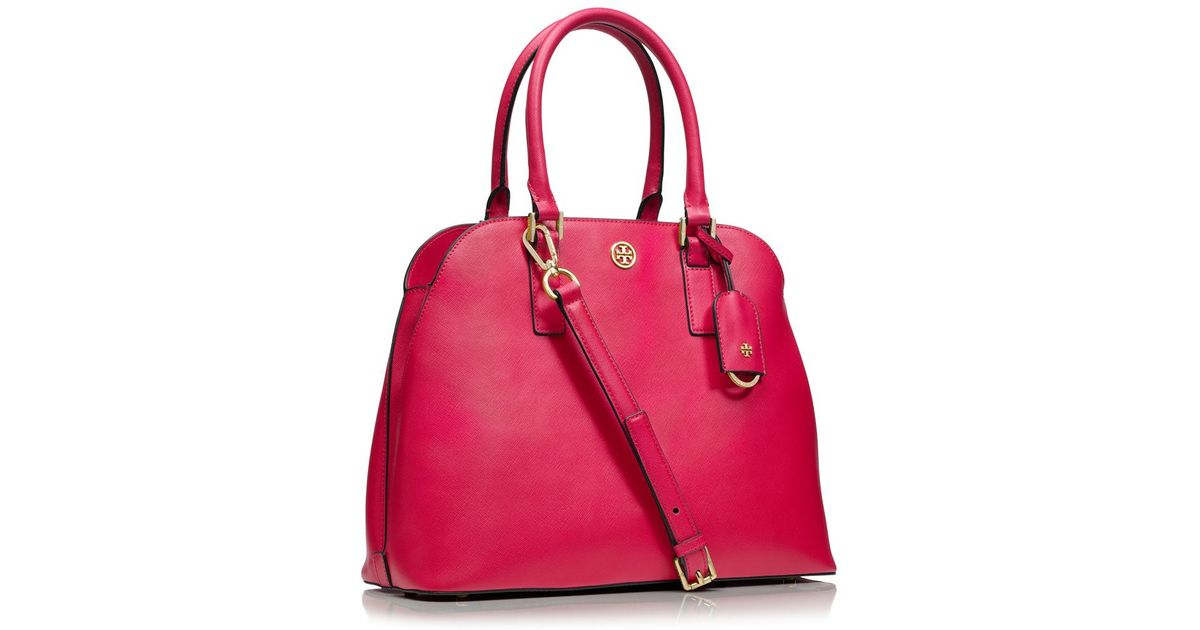 48d0c5e449ea Lyst - Tory Burch Robinson Open Dome Satchel in Red