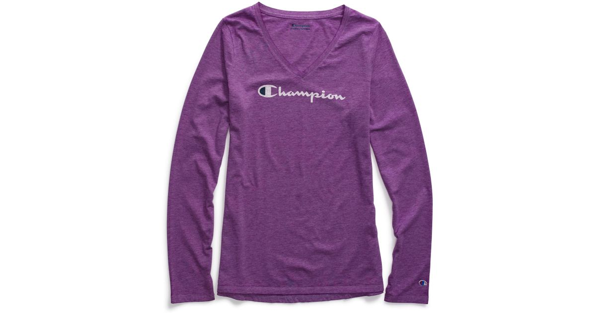 e57d52fc Champion Authentic Washed Long-sleeve T-shirt in Purple - Lyst