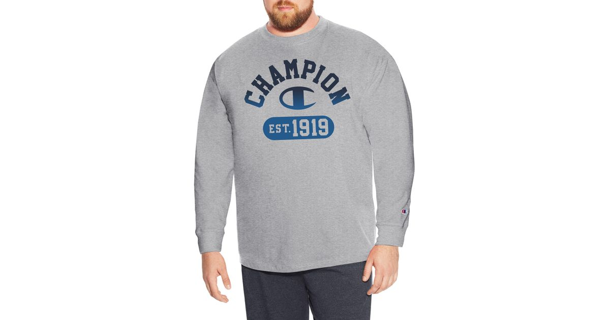 b41b2d374 Champion Big & Tall Cotton Long-sleeve Graphic Tee in Gray for Men - Lyst