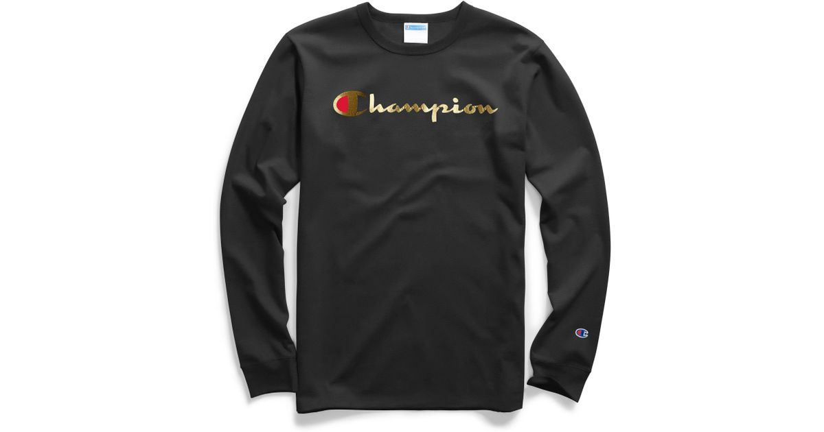 e9365e53c9aa Champion Gold Script Logo Long Sleeve T-shirt in Black for Men - Lyst