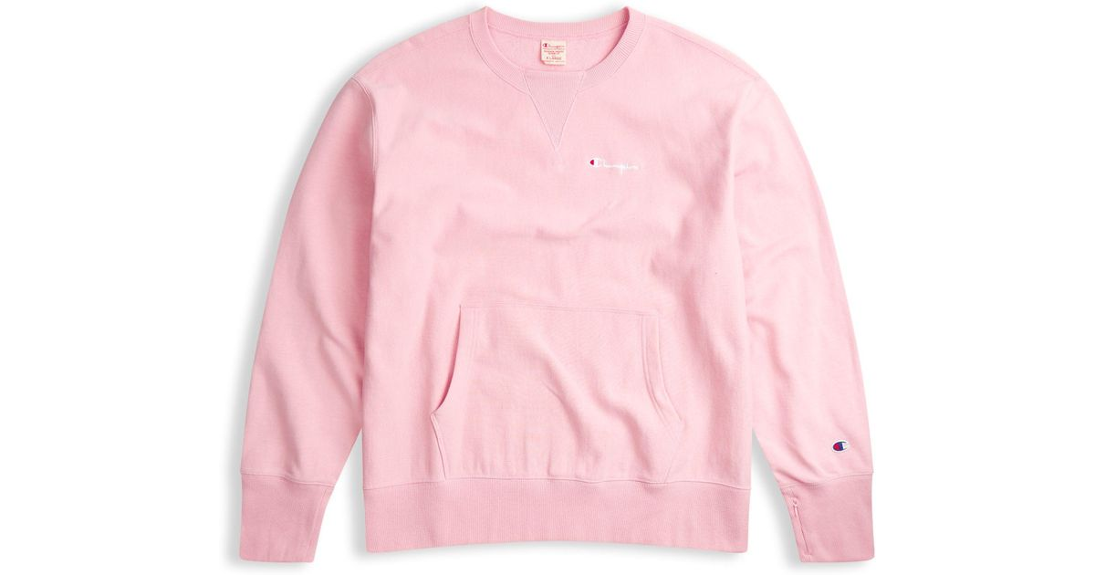 1214080fa Champion Europe Premium Reverse Weave® French Terry Deconstructed Crew in  Pink for Men - Lyst