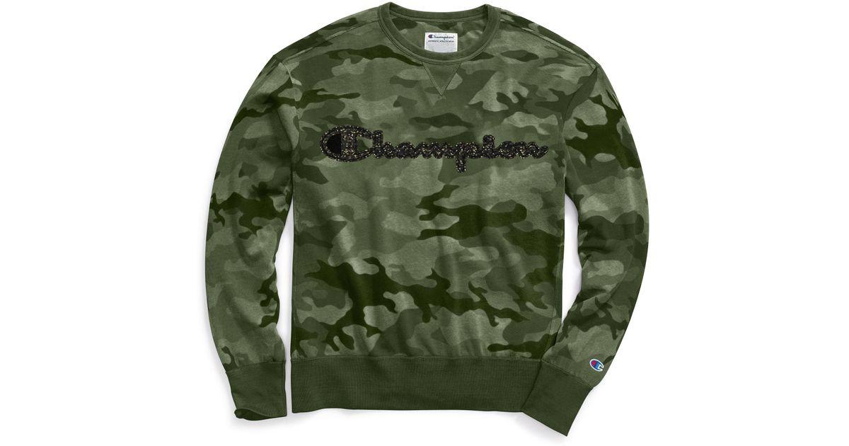 50cb2f562 Champion Vintage Dye Fleece Camo Crew, Felt Logo in Green for Men - Save  51% - Lyst