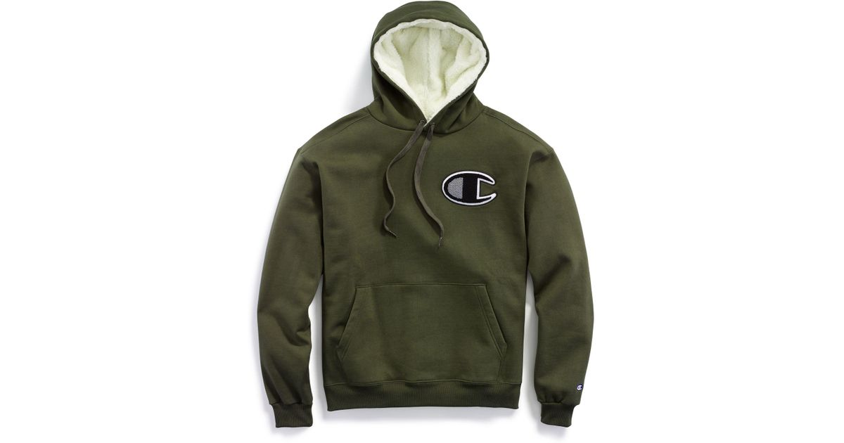 e53869586 Champion Life® Super Fleece 2.0 Sherpa Lined Cone Hood, Chenille Logo in  Green for Men - Lyst