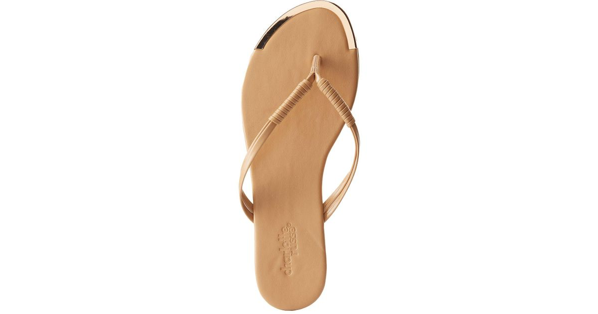 86f474f9a306 Lyst - Charlotte Russe Gold-tipped Flip Flop Sandals