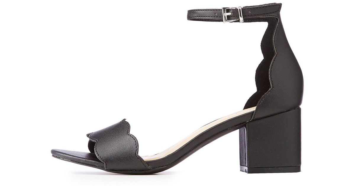 f1b468a6a5bb Lyst - Charlotte Russe Ankle Strap Scallop Sandals in Black