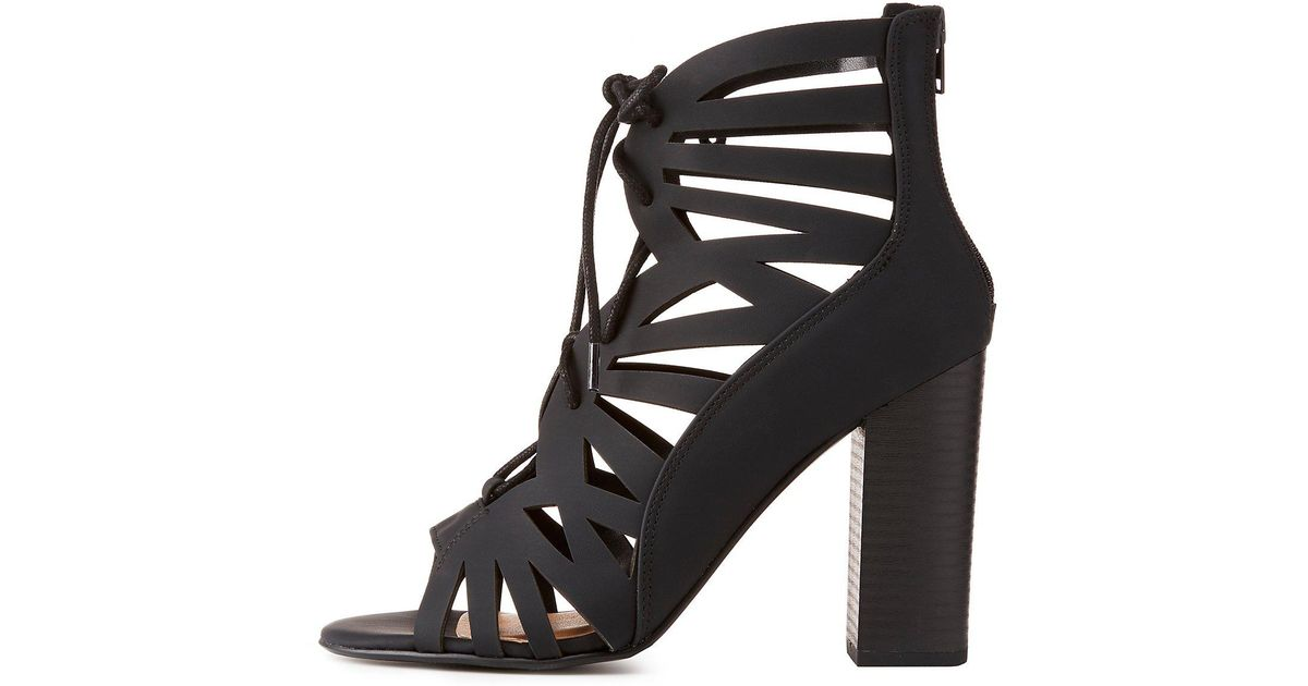 6a1e1877d0f Lyst - Charlotte Russe Caged Lace-up Chunky Heel Sandals in Black