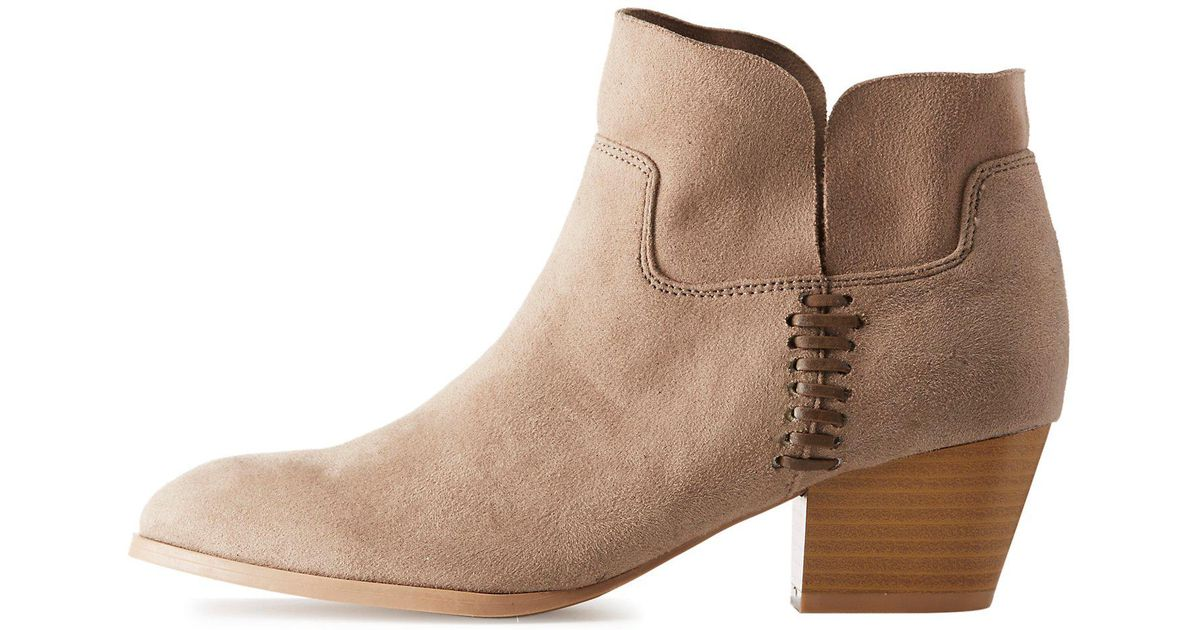 ab48932320e4 Lyst - Charlotte Russe Qupid Side-slit Ankle Booties in Brown