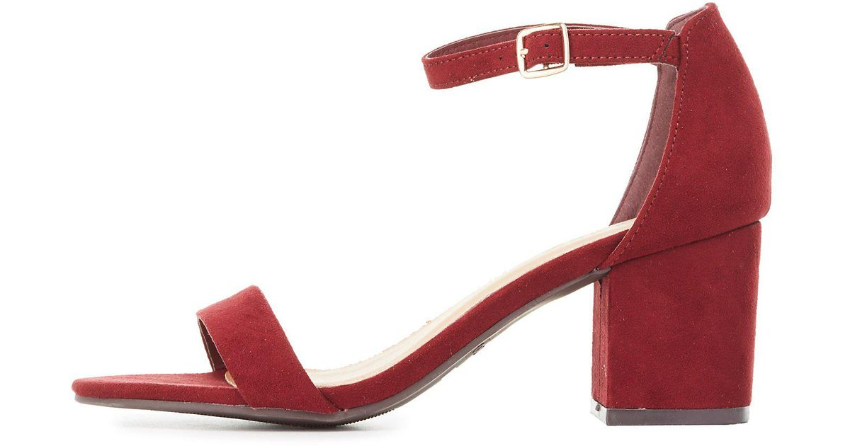 7ad9a4012a9 Lyst - Charlotte Russe Bamboo Block Heel Two-piece Sandals in Red