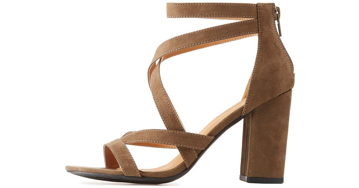 8f3622111d0 Charlotte Russe - Brown Strappy Caged Block Heel Sandals - Lyst