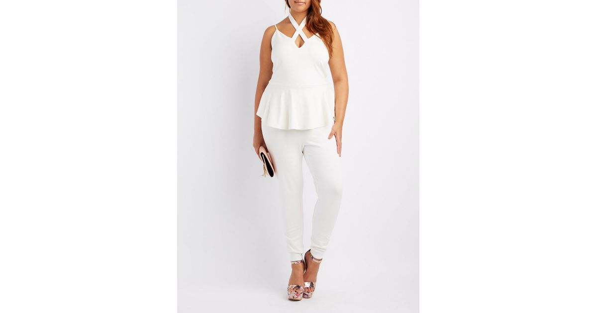 184b8974285 Lyst - Charlotte Russe Plus Size Strappy Caged Peplum Jumpsuit in White