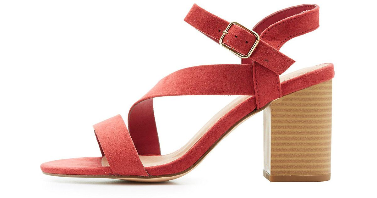 1771ce1484d Charlotte Russe - Red Strappy Block Heel Sandals - Lyst