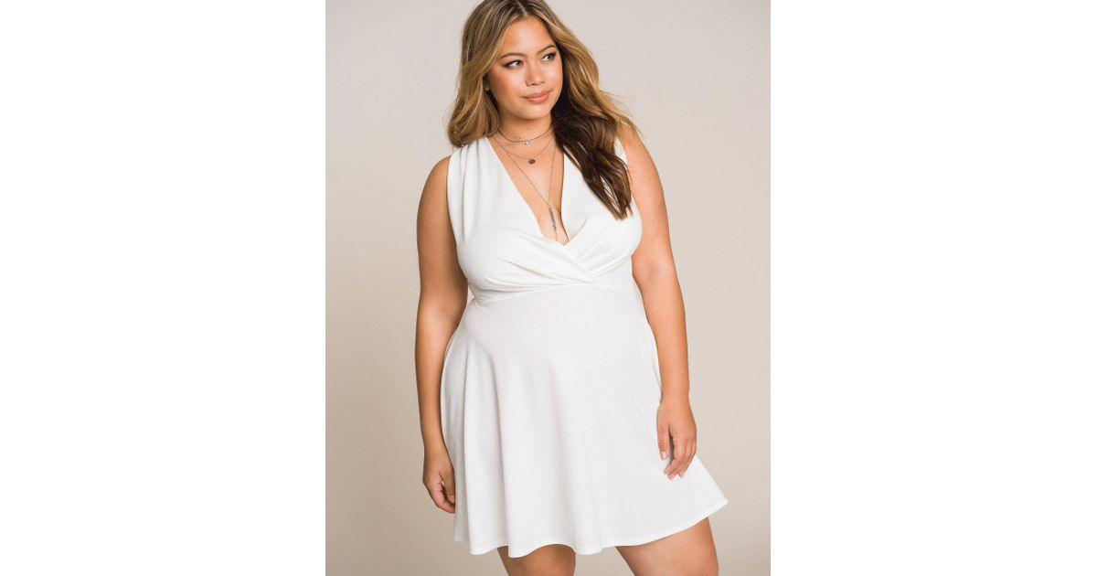 Charlotte Russe - White Plus Size Pleated Wrap Skater Dress - Lyst