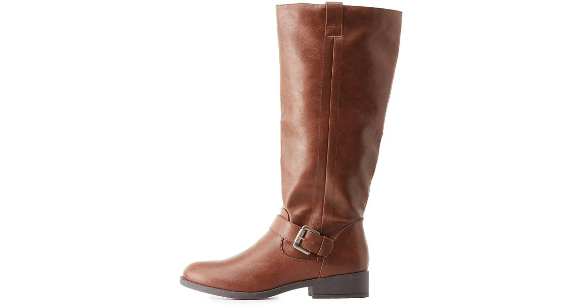 ff44ebb0d8a9 Lyst - Charlotte Russe Buckled Riding Boots in Brown