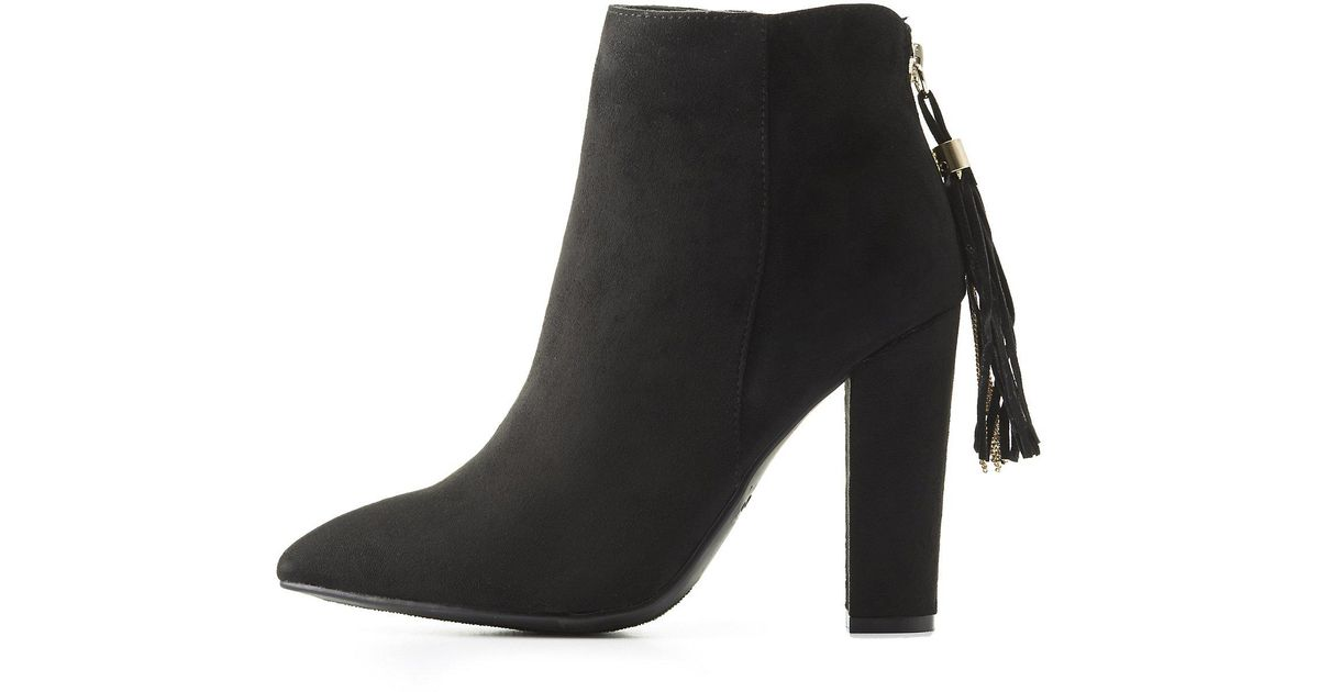 5948c61b73f4 Lyst - Charlotte Russe Bamboo Faux Suede Tassel-back Ankle Booties in Black