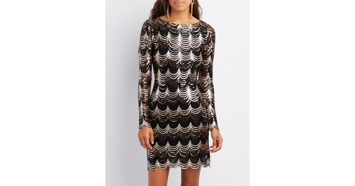 afa19516fc Lyst - Charlotte Russe Scalloped Sequins Bodycon Dress in Black
