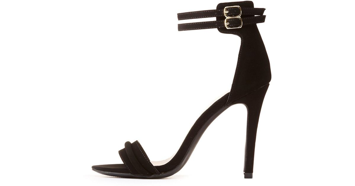 5e983d24c8b2 Lyst - Charlotte Russe Dual Ankle Strap Sandals in Black