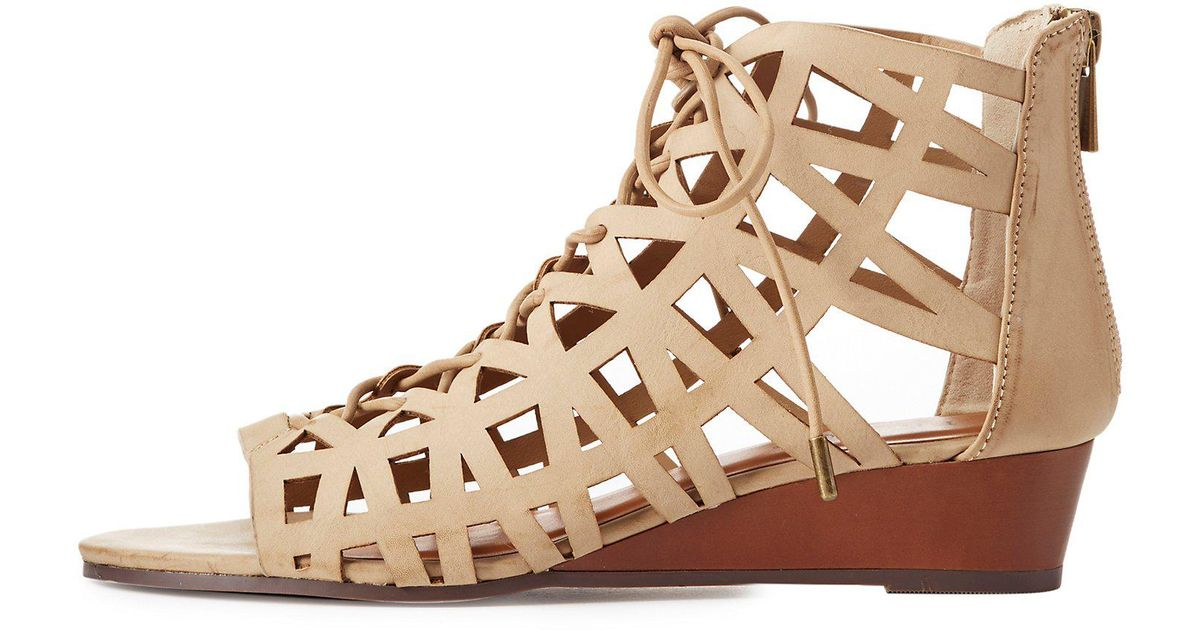 b4b7cd621cdb Lyst - Charlotte Russe Bamboo Caged Lace-up Gladiator Sandals in Brown