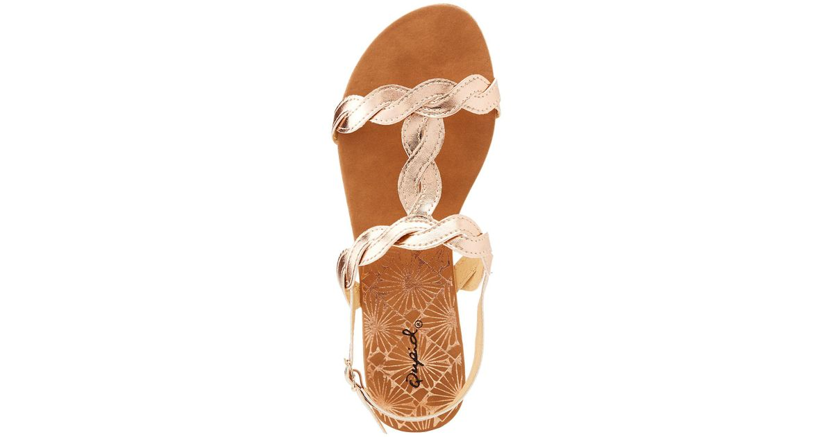 f7b60a337c6 Lyst - Charlotte Russe Qupid Metallic Braided T-strap Sandals