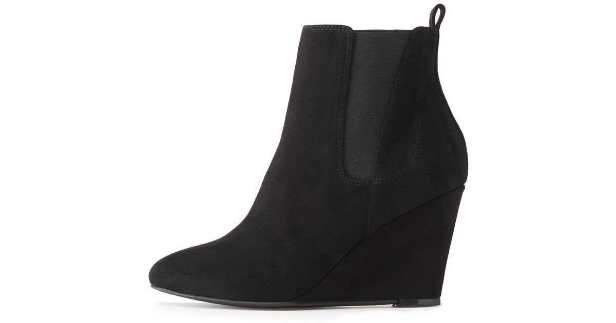 3a3cd5353e2 Lyst - Charlotte Russe Wide Width Gored Wedge Booties in Black - Save 84%