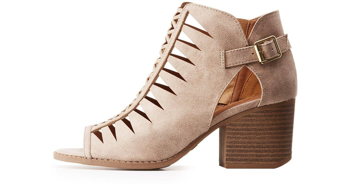 f2ced20f804e Lyst - Charlotte Russe Qupid Laser Cut Buckled Ankle Boots in Brown