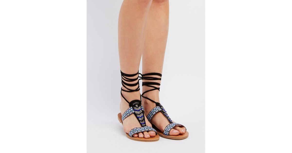 36bc078b1985ee Lyst - Charlotte Russe Qupid Beaded Lace-up Sandals in Black