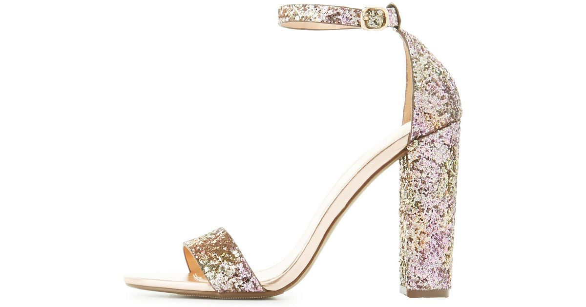 3d78f34eeac Lyst - Charlotte Russe Glitter Two-piece Dress Sandals in Purple