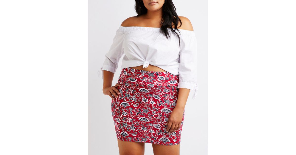 d819c824c3c88 Lyst - Charlotte Russe Plus Size Paisley Bodycon Mini Skirt in Red