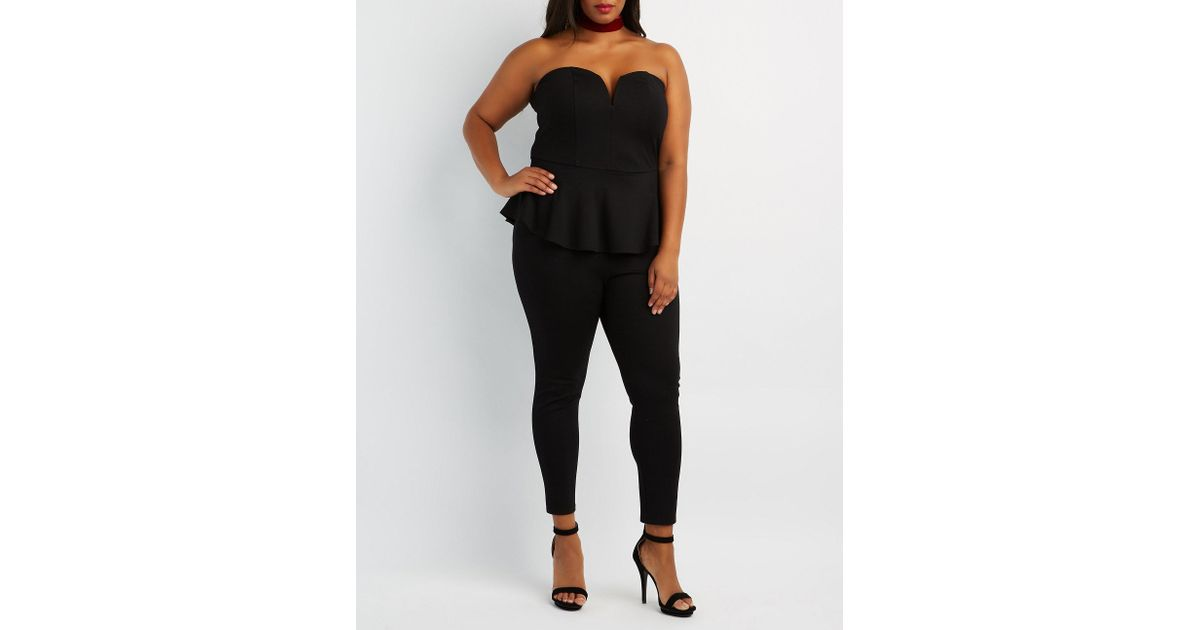 560b903c7a6 Lyst - Charlotte Russe Plus Size Strapless Peplum Jumpsuit in Black