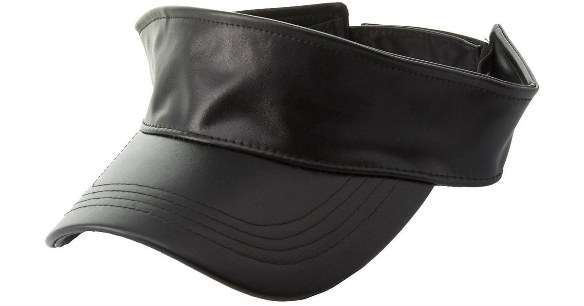 e10cb5eff2126a Lyst - Charlotte Russe Faux Leather Visor Hat in Black