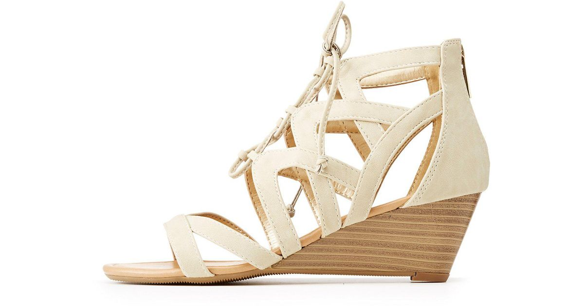 b6f9222a584 Lyst charlotte russe caged lace up wedge sandals in gray jpeg 1200x630 Charlotte  russe wedge shoes