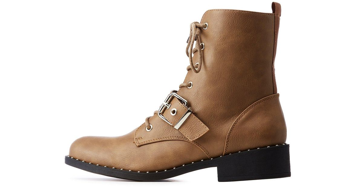c5319ec2aab5 Lyst - Charlotte Russe Qupid Studded Sole Combat Boots in Brown