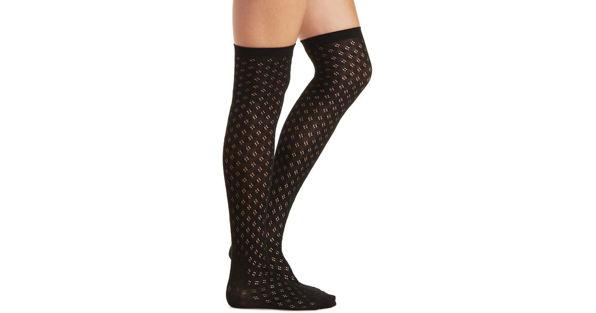 88d4ea291c0 Lyst - Charlotte Russe Diamond Pointelle Over The Knee Socks in Black