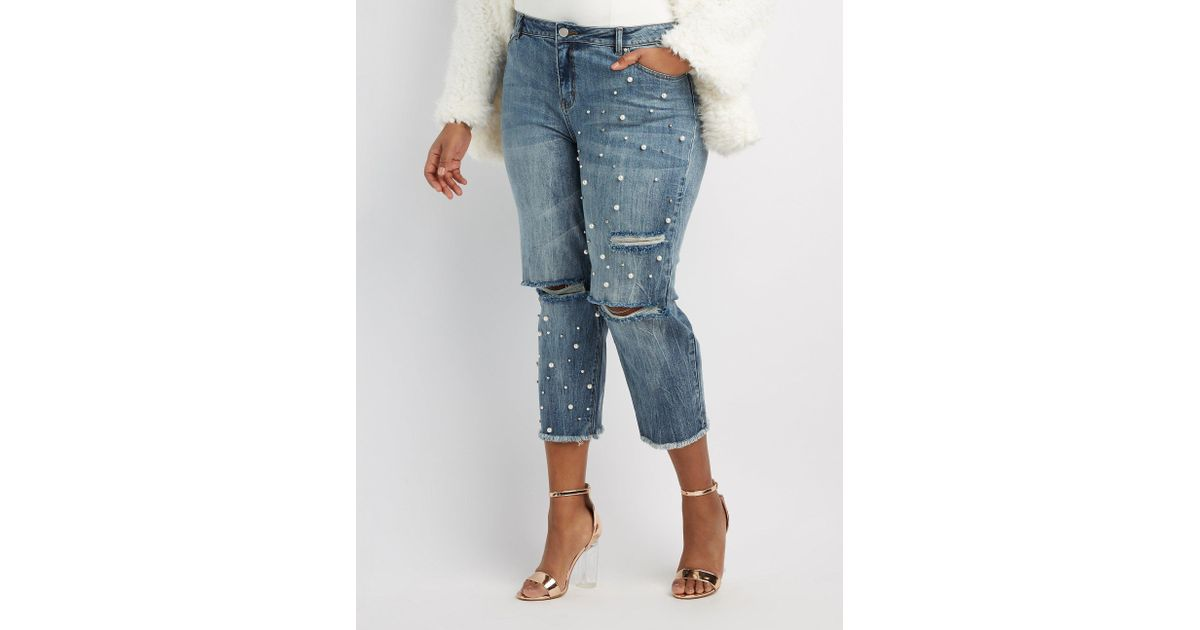 1044b03bd51b3 Lyst - Charlotte Russe Plus Size Refuge Destroyed Pearl Applique Crop Jeans  in Blue