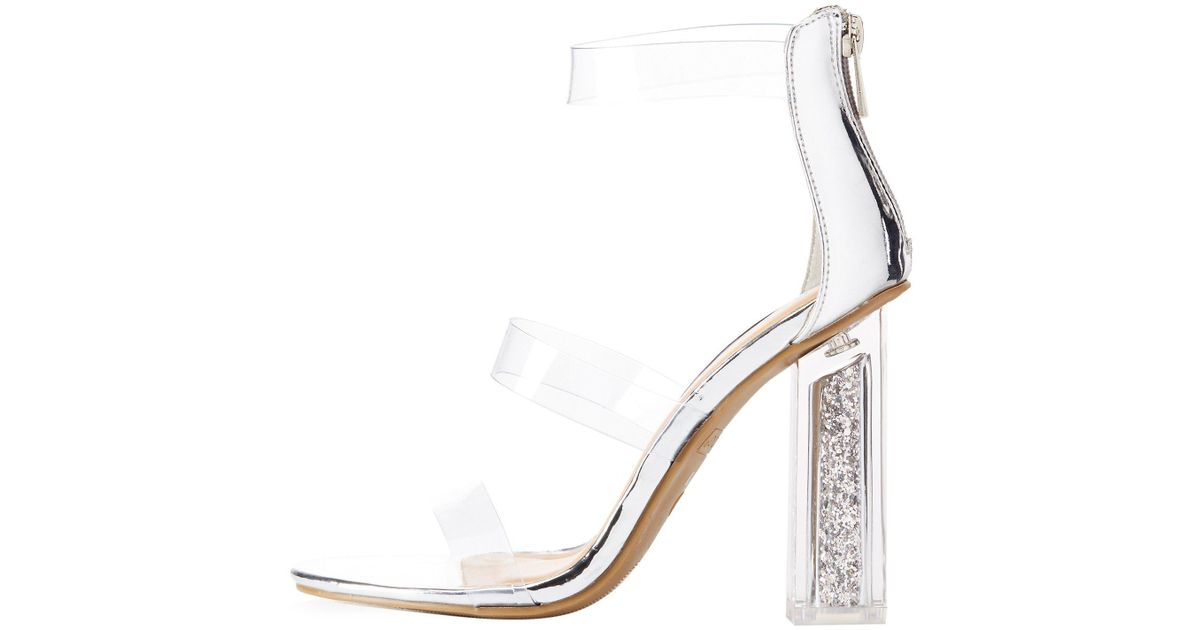 6fa207d80e Lyst - Charlotte Russe Bamboo Clear Three-piece Glitter Heel Sandals in  Metallic