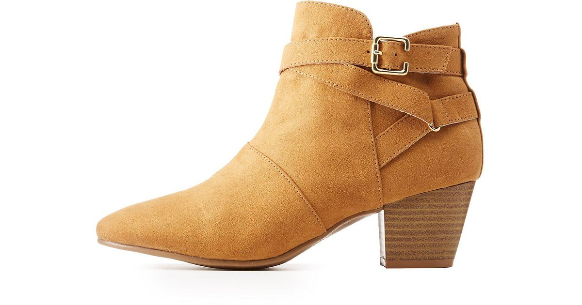 4dca63e20dc0 Lyst - Charlotte Russe Qupid Suede Belted Ankle Booties in Natural