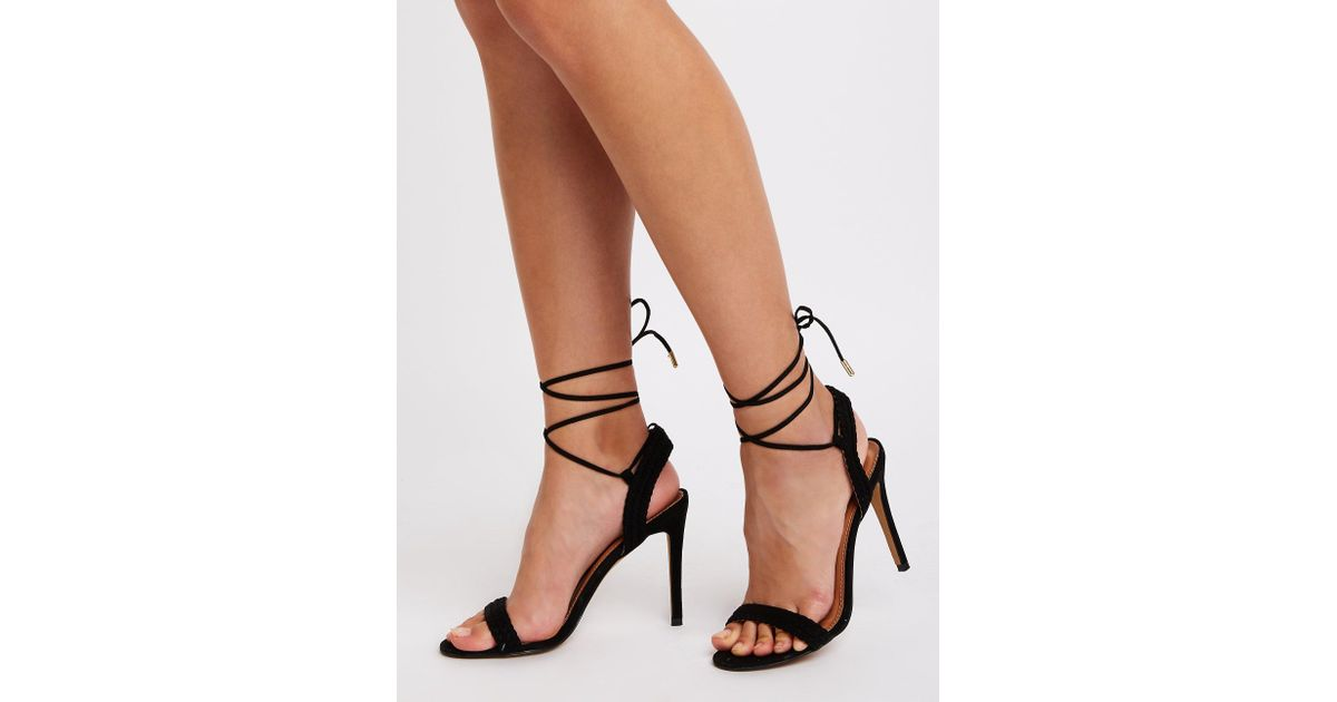 23c14ea8528 Lyst - Charlotte Russe Braided Ankle Strap Sandals in Black