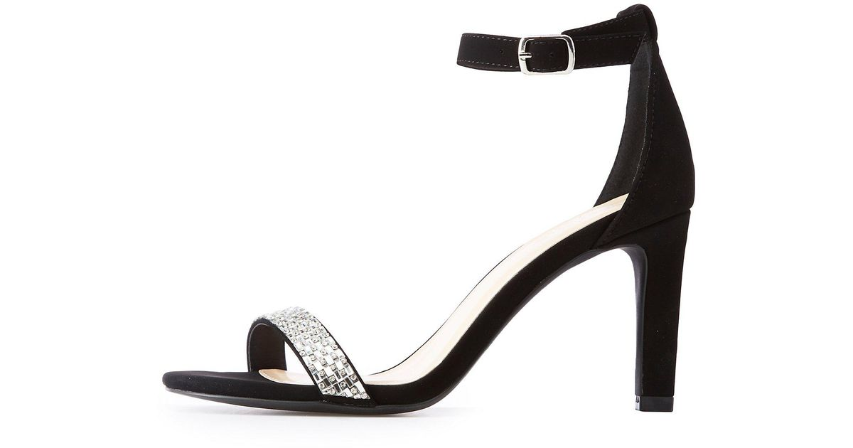 ab9aac0e71 Lyst - Charlotte Russe Crystal Ankle Strap Sandals in Black