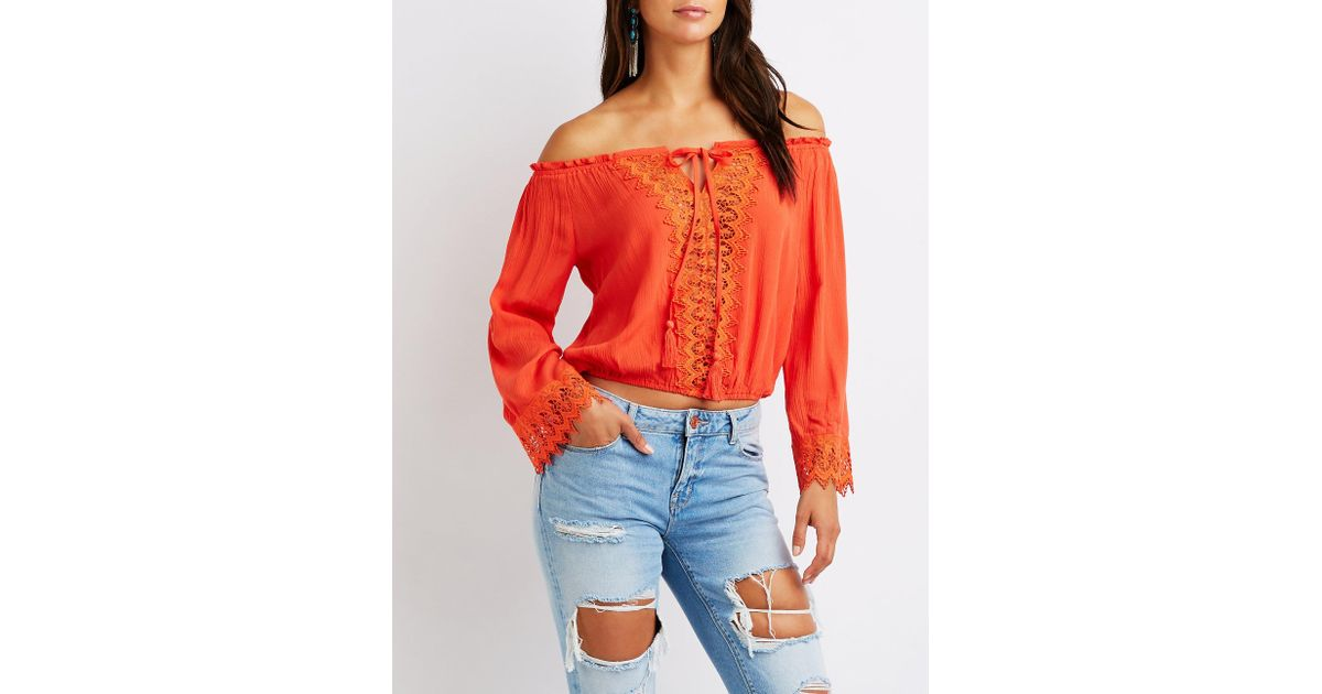 7b446e9c229 Lyst - Charlotte Russe Crochet Off The Shoulder Top in Red