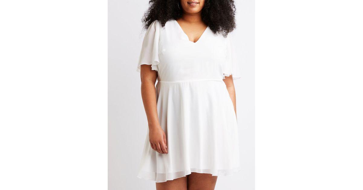 Charlotte Russe - White Plus Size Caged Back Skater Dress - Lyst