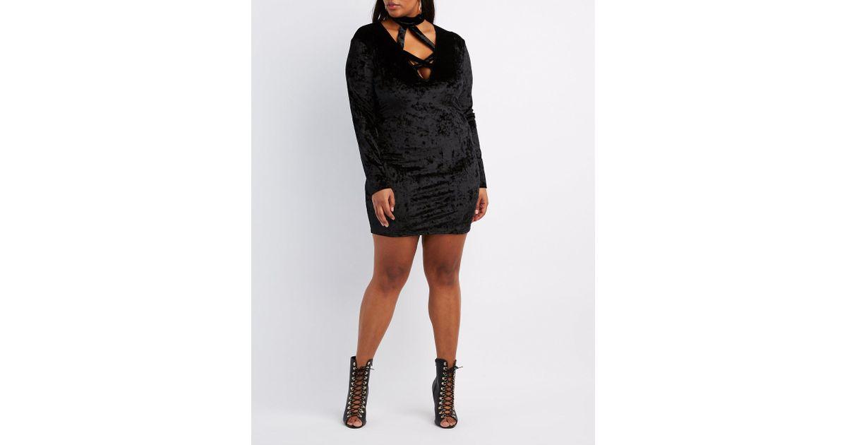 8698d4d3da9 Lyst - Charlotte Russe Plus Size Velvet Caged Bodycon Dress in Black