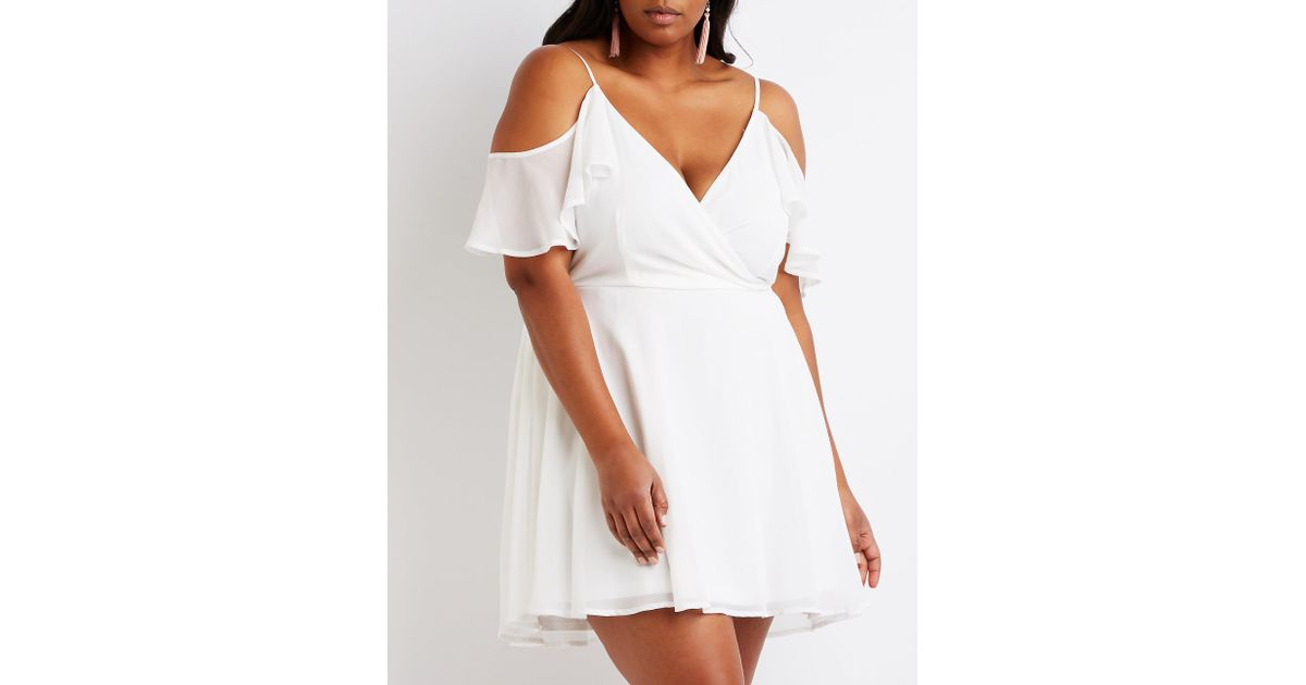 Lyst - Charlotte Russe Plus Size Cold Shoulder Skater Dress in White