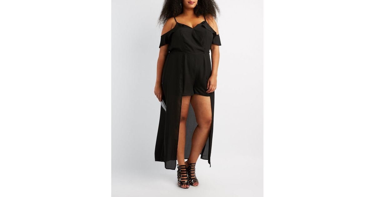 059694364ca Lyst - Charlotte Russe Plus Size Ruffle Cold Shoulder Maxi Romper in Black